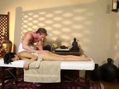 Glam babe tricked and pussyfucked by masseur
