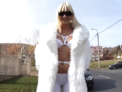 Sandra Sanchez is a platinum blonde honey who likes to use fruits while masturbating like crazy