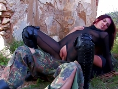 Soldier Gets Surprised By Sexy Minx In Leather