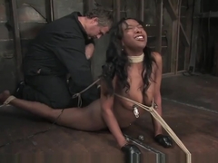 Stacy cash hands taped in bondage, nipple clamps and whipped