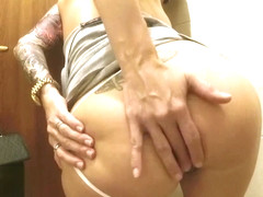 Amateur masturbating and fingering ass and pussy in restaurant restroom