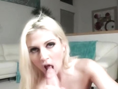Sugar blonde Christie Stevens is blowing a cock