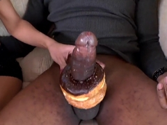 French girls decorates long and powerful black dick with doughnuts