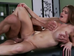 Pleasing busty Allison Moore performing in amazing creampie porn video