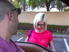 Slutty blonde milf with glasses gags on a cock like a pro