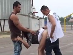 BASKETBALL court PUBLIC threesome