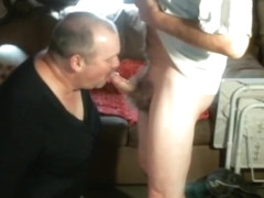 Crossdresser sucking mature buddies cock and swallows it all