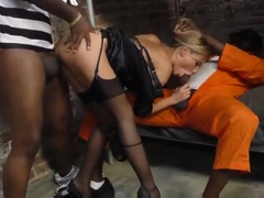 Hot slut rides black dick