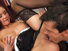 Enticing busty German MILF Amy Reid in seductive stockings
