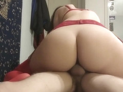 SlimThick half korean taking a huuuuge rip, sucking, and riding ;3
