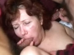 Mature Russian slut fucked by three studs