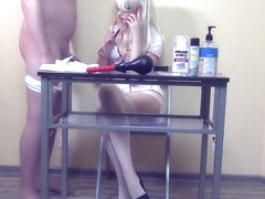 Prostate massage and anal exams for my bf with double dildo by hot nurse