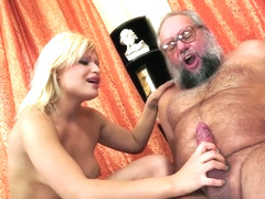 A blonde who gets excited with this old man
