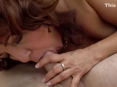 Cougar gets cum in mouth