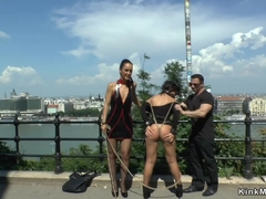 Mistress made babe gangbang in public