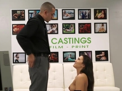 Darling Desirae Rose gags on her masters dick