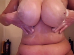 massaging and washing big hentai tits