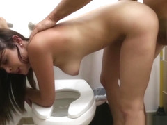 Cute stewardess fucks hard and fast with broker for money
