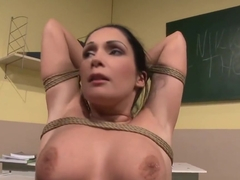 MILF teacher dominates a young les student