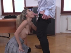 Skinny schoolgirl in ass to mouth scene