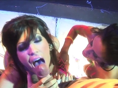 Night club dancers Mikayla Mendez and Roxy Deville appeasing man on the scene