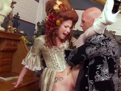 Hot redhead Veruca James rides a stiff meat pole