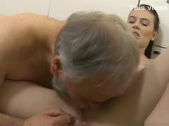 Hot young babe banged by old guy