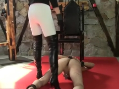 Sexy blonde white spandex Boots caning