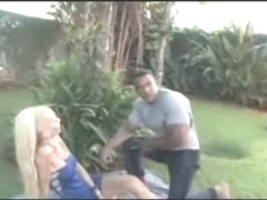 Handsome Black body builder hammering sweet blonde ladyboy on th