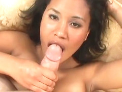 Sexy Ebony Plays With White Cock