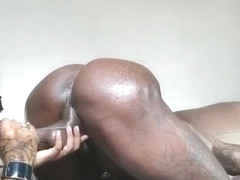 MASKED EBONY EATING ASS AND SUCKING BBC FROM THE BACK 2