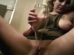 Cam Whore fucks another bottle