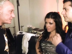Black haired babe, Amanda Black got down and dirty with two elderly guys, just for fun