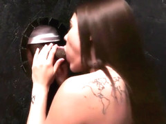 Adria Rae is having a blast during her first gloryhole experience and getting cum on her face