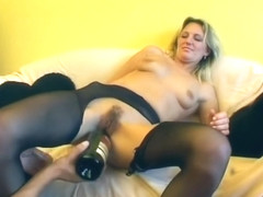 Dirty girl plays with two guys and a wine bottle - Sascha Production