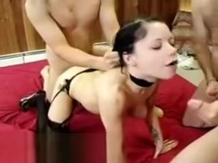 Sexy goth gets gangbang fucked