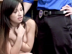 Shoplifter Jasmine Gomez rides dudes cock like a cowgirl