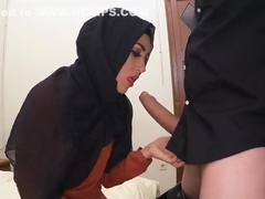 Guy gives arab girl rough mouth fucking