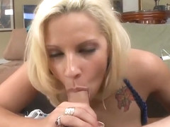 Sexy platinum Lylith Lavey is getting wild when receiving a cumshot on her face
