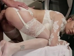 White glossy Stockings Fucked girl in Nylons