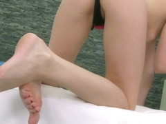 Petite Ann Marie La Sante gets her fabulous feet and pussy banged all at once