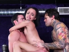 Two men brunette fucked on a pool table two Dicks at the same time...