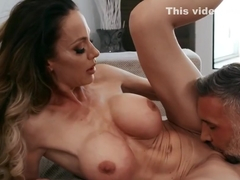 Milf with big milkings spreads her legs in tights for sex...