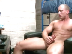 Muscled straight guy jerking his firm part1