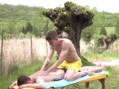 Outdoor twink amateur jerked off by masseur