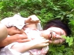 Japanese chick gets cum on boobs outdoor