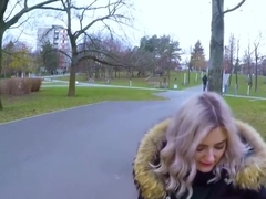Pickup blonde ends with a Blowjob in public from the first person...