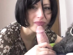 Skilled MILF giving head to her lucky amore