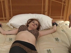 Paris Kennedy bedspread tickling
