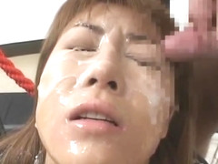 Crazy Asian model in hot bukkake action part5